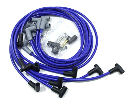 Taylor Cable 86602 ThunderVolt 8.2mm Ignition Wire Set Spiro Wound Race Fit 90 deg. HEI Under Header Chevy Big Block Blue ThunderVolt 8.2mm Ignition Wire Set