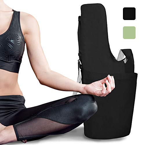 RIMSports Yoga Mat Bags & Carriers - Lightweight Yoga Mat Carrier with Hoodie - Ideal for Yoga Accessories & Yoga Gear - Large Yoga Bag - Best Yoga Mat Carrier Bag (Black)