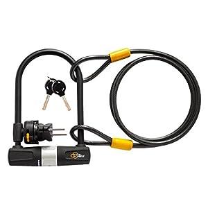 Via Velo Bike U Lock with Cable Heavy Duty Bicycle U-Lock,14mm Shackle and 10mm x1.8m Cable with Mounting Bracket For Road Bike Mountain Bike Electric Bike Folding Bike, Great Bike Safety Tool
