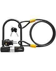 Via Velo Bike Lock Heavy Duty Bicycle U-Lock,14mm Shackle and 10mm x1.8m Cable with Mounting Bracket for Road Bike Mountain Bike Electric Bike Folding Bike