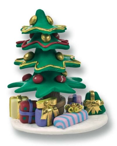 Christmas Cake Decoration Topper Claydough Decorated Christmas Tree 64mm Culpitt