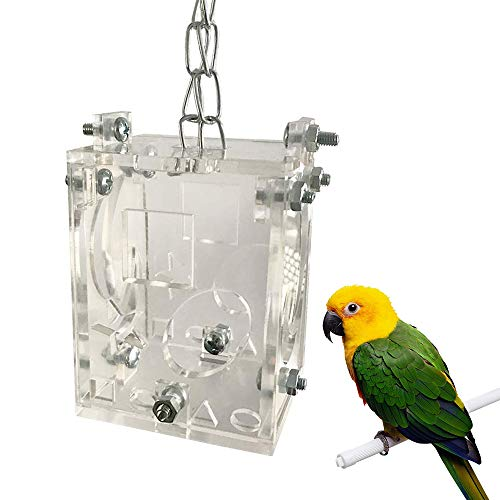 BLSMU Parrot Creative Foraging Toy Feeder Bird Intelligence Growth Cage Acrylic Box Toys