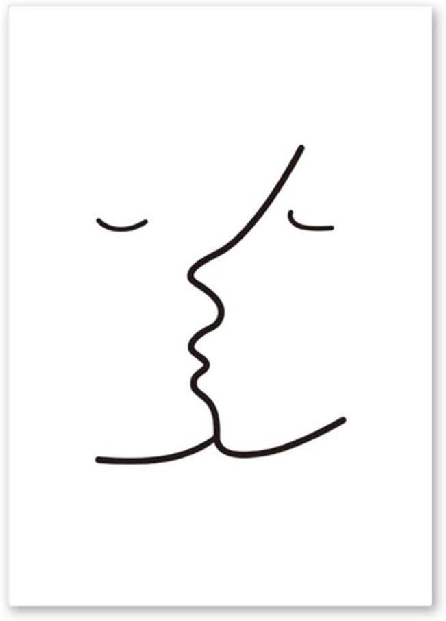 HSFFBHFBH Cuadro de Lienzo Beso Picasso Línea Simple Negro Blanco Cuadro Abstracto de la Pared Cartel del Arte Imprimir Murales Modernos Decoración de la Pared Pinturas 50x70cm (19.7