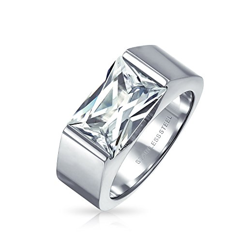 (Bling Jewelry Mens Stainless Steel 2.5 ct Emerald Cut CZ Engagement Ring MORE SIZES - Size 9)