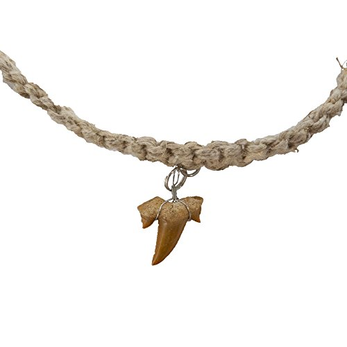 Classic Style Pendant - FROG SAC Real Shark Tooth Necklace for Men Boys Teens Kids - Genuine Fossil Pendant on Stylish Necklace - Cool Men's Classic Surfer Style Necklaces - Novelty Fashion Jewelry for Men (Hemp)