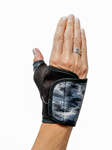 3-Point Products 3pp Design Line Thumb Arthritis Splint, Moderate Support for CMC Joint Pain, Right Hand, Size Medium, Brushed Black Pattern (Patterns Hand Splint)
