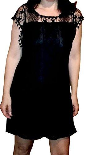 Rose Schwarz Dress Sommer Vintage Damen Lose Kleider Und Frauen Bestfort Weiß Kleid Spitzeball Knielanges Spitzenkleid