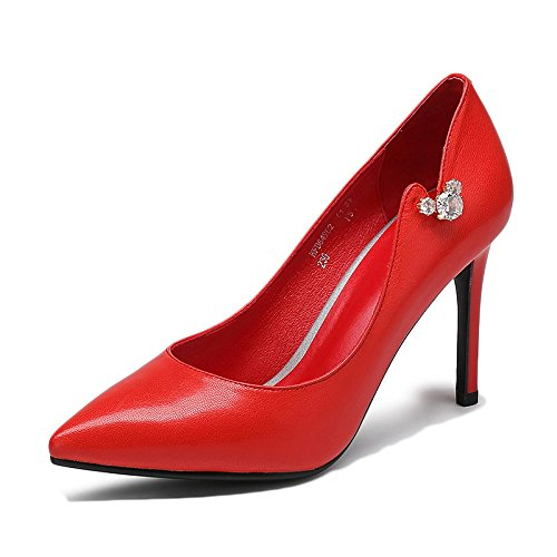 Femme Noir Haute Talons Mode Sexy Travail Cour Chaussures Chaussures De Mariage en Cuir Chaussures De Diamants en Cuir Party Night Club,Red-9cm-EU:38/UK:5.5