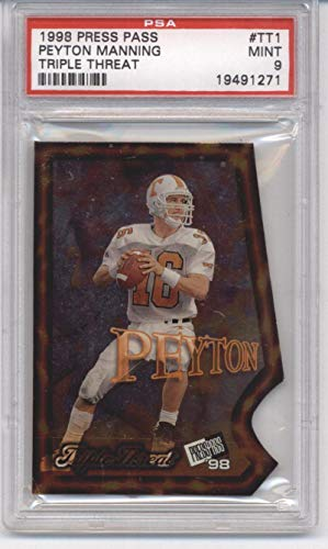 1998 Press Pass Triple Threat #TT1 Peyton Manning Colts NFL Football Card PSA 9 MINT