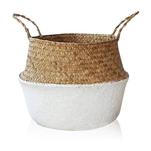 Yeahmart Medium Natural Seagrass Belly Basket, Woven Tote Storage Laundry Baskets Dual Handles, Flower Plants Pots, Picnic, Beach Bag, Home Garden Organizer (White & Beige)