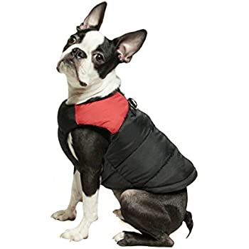 Gooby Padded Cold Weather Vest for Small Dogs with Safe Fur Guard Zipper Closure, Red, Medium