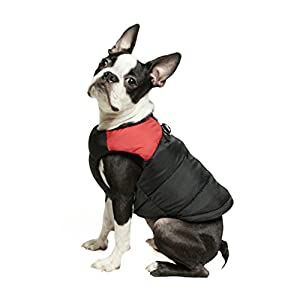 Gooby Padded Cold Weather Vest for Small Dogs with Safe Fur Guard Zipper Closure, Red, Small