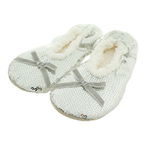 Zegee Ballerina Bling Metallic Shine Frenulum Butterfly Knot Womens Cozy Sequin Slippers (M 7-8, Silver)