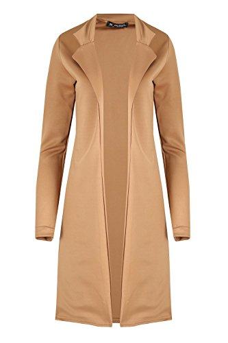 Womens Blazer Ladies Collar Open Front Long Turn up Sleeve Cape Cardigan Long Jacket Coat Camel