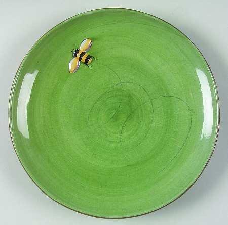Pottery Barn Green Embossed Bee Salad Luncheon Dessert Plate (Pottery Barn Bird Plates)