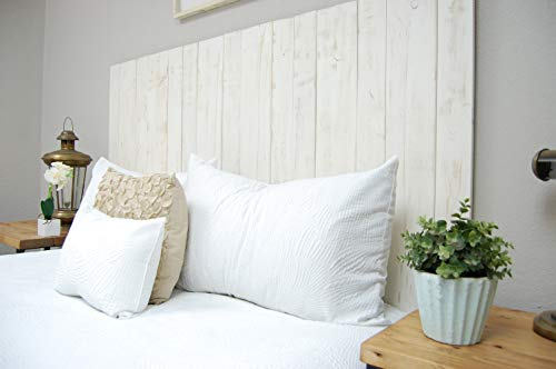 Whitewash Headboard Queen Size Weathered, Leaner Style, Handcrafted. Leans on Wall. Easy Installation.