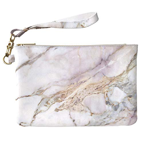 Lex Altern Makeup Bag 9.5 x 6 inch Aesthetic White Marble Stone Nature Gentle PU Leather Case Toiletry Women Zipper Organizer Bathroom Storage Wristband Girl Design Print Purse Pouch Cosmetic Travel