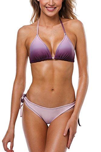 ALove Halter Bikini Swimsuit for Women Triangle Slide Bikini Bathing Suits Purple XL