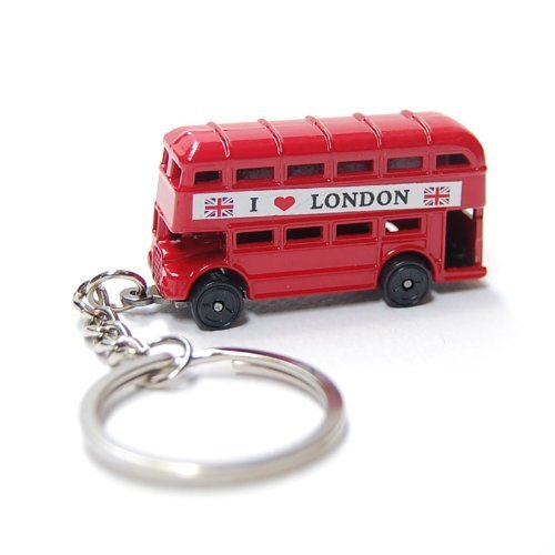 (Red London Double Decker Bus Die Cast Metal Key Chain, Key Ring or Key Fob Souvenir and Gift)