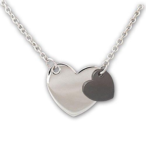 Collier double cœur-Pendentif cœur en Argent Argent rhodié et brunito. Argent 925/1000