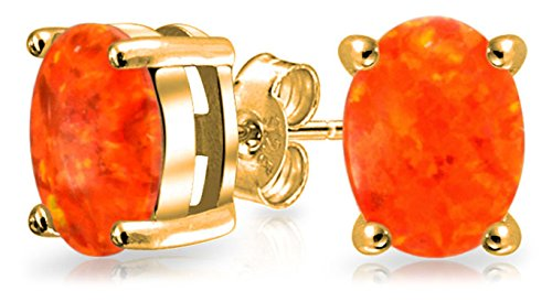 Orange Mexican Fire Created Opal Round Solitaire Stud Earrings 14K Gold Plated Sterling Silver 7MM October Birthstone