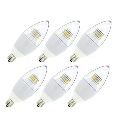 JCase LED 6w Candelabra Light Bulb, 60w Incandescent Replacement, Soft White (3000K), E12 Candelabra Base LED Bulbs, Blunt Tip Clear Cover, Gloss White Body(6-PACK)