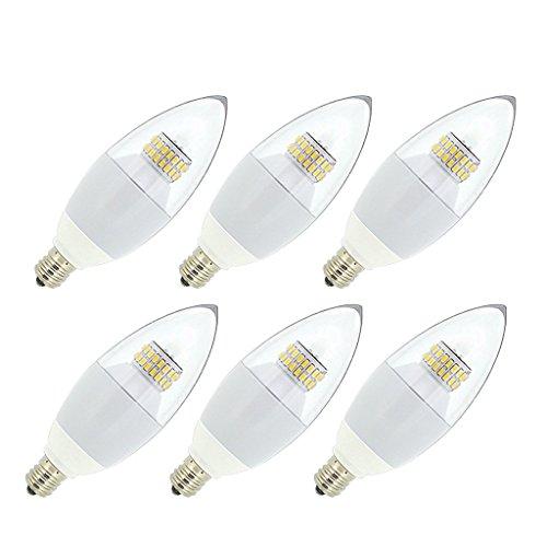 JCase LED 6w Candelabra Light Bulb, 60w Incandescent Replacement, Soft White (3000K), E12 Candelabra Base LED Bulbs, Blunt