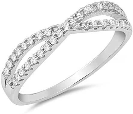 White CZ Infinity Knot Stackable Wave Ring .925 Sterling Silver Band Sizes 4-10