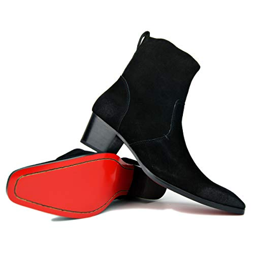 OTTO ZONE Dress Boot for Men Leather Chukka Designer Boots Casual Heel Shoes Zipper-up JY002 Black Suede 9.5