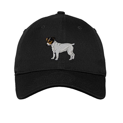 (Jack Russell Terrier Dog Style 3 Twill Cotton 6 Panel Low Profile Hat Black)