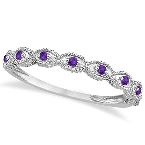 Antique Style Filigree Marquise Shape amethyst Ring 14k White Gold 0.18ct