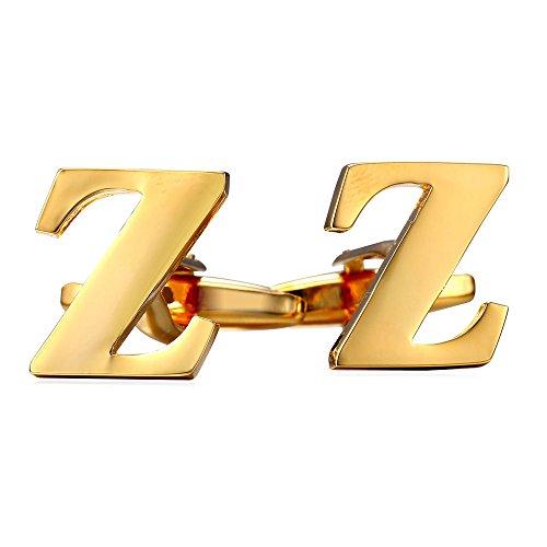 U7 Men's Wedding Business Shirt Cuff Links Studs 18K Gold Plated Initial Cufflinks (Letter Z) by U7