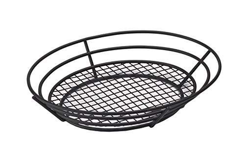 12.5'' x 9.25'' Black Oval Basket with Raised Grid Base, Clipper Mill by GET 4-38848 (Qty,1)