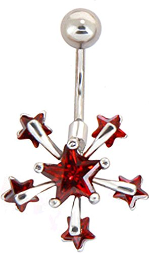 Star 14 Belly Ring Gauge (Thenice 1.2mm 16g Luxury Flash Zircon Meteor Shower Star Earrings Navel Ring (Red))