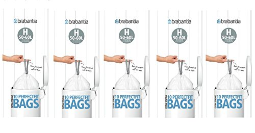 5 x Brabantia Pack Of 10 Extra Strong Perfect Fit H Size 50-60L Waste Bin Liners