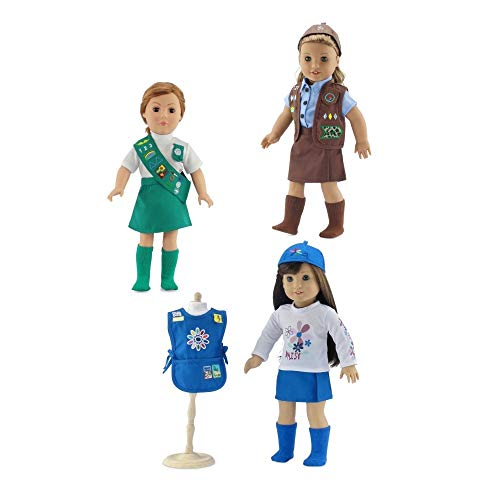 18-inch Doll Clothes | Value Pack - 3 Girl Scout Inspired Modern Uniforms, Including Daisy, Brownie Junior Scout Outfits | Fits American Girl Dolls