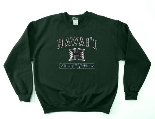 NCAA Hawaii Rainbow Warriors 50/50 Blended 8-Ounce Vintage Mascot Crewneck Sweatshirt, Small, Forest (Best Crewneck Sweatshirt)