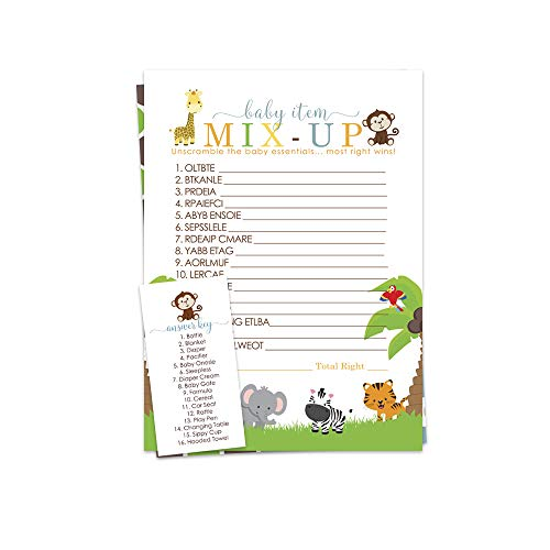 Paper Clever Party Cute Jungle Baby Shower Game - Word Scramble - Pack of 25 (Words For A Baby Shower Word Search)