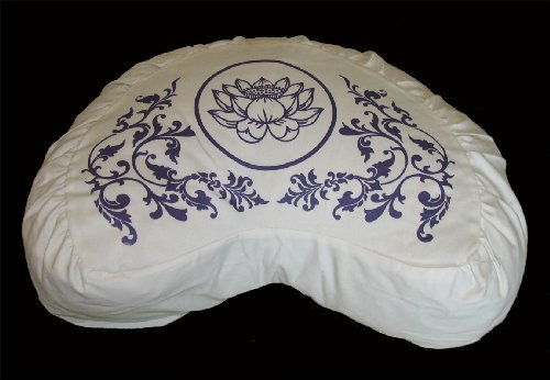 "Meditation Cushion Crescent Zafu "" Purity Collection"" Ivory ""Lotus Enlightenment"" Lavender"