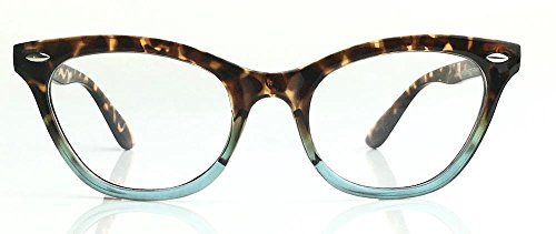Cat Eye Wayfarer Style Gradient Two Tone Plastic Frame Women Eyeglasses Glasses (Tortoise Blue, - Frames Eyeglasses Female