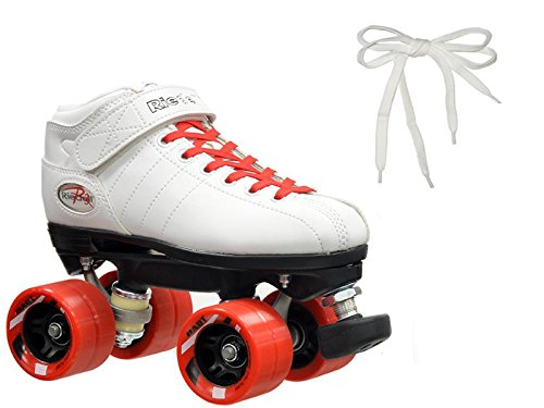 Riedell R3 Peppermint White & Red Quad Roller Derby Speed Skates w/ 2 Pair of Laces (Red & White)