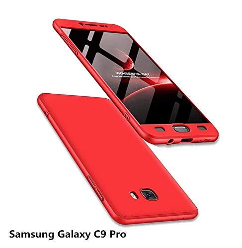 MISSDU reemplazo para Funda Samsung Galaxy C9 Pro y Protector de Pantalla de Vidrio Templado, Carcasa 3 in 1 360 Grados Rígida PC Protective Anti-rasguños Case, Rojo: Amazon.es: Electrónica