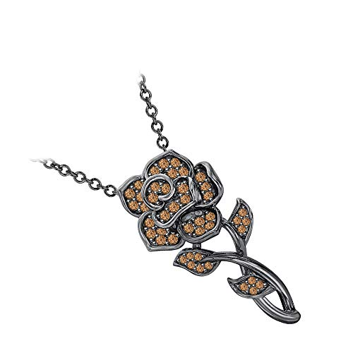 (RUDRAFASHION Beautiful Rose Floral Pendant Necklace Smoky Quartz 14k Black Gold Over .925 Sterling Silver for Womens)