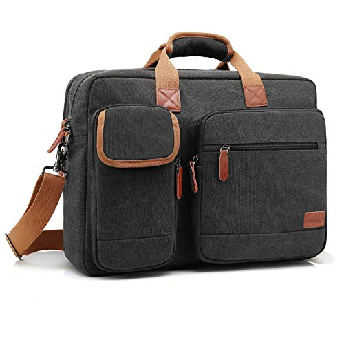 CoolBELL 15.6 Inch Laptop Bag Canvas Briefcase Protective Messenger Bag Shoulder Bag for Laptop/Ultrabook/Tablet/Men/Women/Business (Canvas Black)