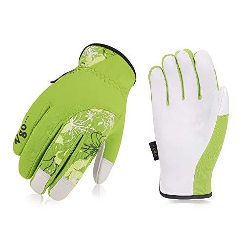 Ladies Goatskin Leather - Vgo 3Pairs Ladies' Goatskin Leather Gardening Gloves(Size L,Green,GA7444)