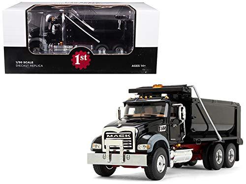 StarSun Depot Mack Granite MP Dump Truck Black Red Chassis 1/50 Diecast Model First Gear