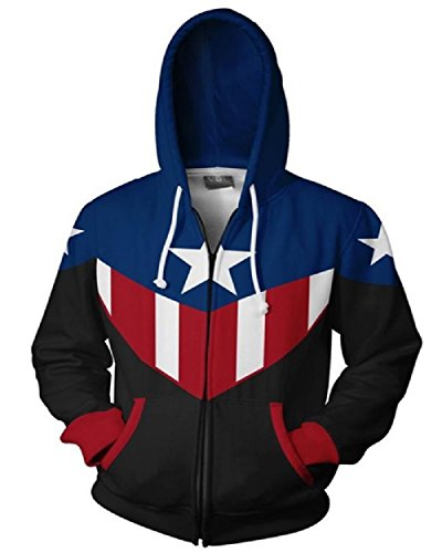 Joyfunny Superhero CA Hoodie Zip Up/Pullover Hoodie Halloween Cosplay Casual Sweatshirt XL]()