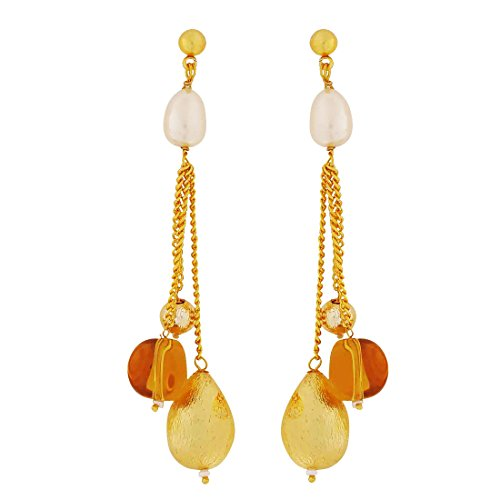 Maayra Cocktail Classic Earrings Yellow Dangler Drop Party Jewellery by Maayra