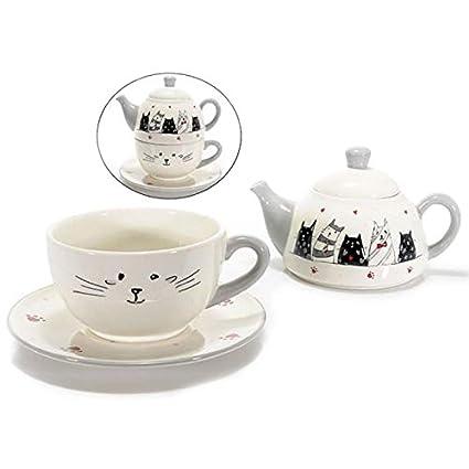 Set Tetera y taza de cerámica con plato y gatos enamorados. 00050 zy-cel5