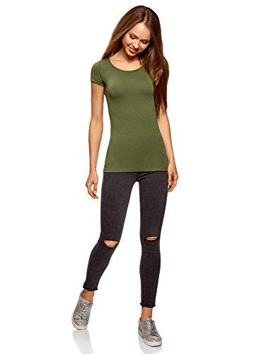 oodji Ultra Mujer Camiseta Básica Entallada Verde (6900N)